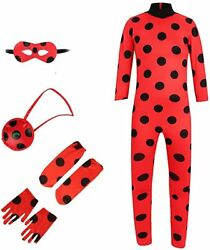 Child Cosplay Costume Girls Ladybug Dress Up Jumpsuit Spot Red Suit for Kids $16.99