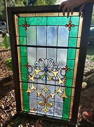 ANTIQUE STAINED GLASS window Beautiful 45x28 early 1900s $900.00