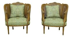 33169EC: Pair CENTURY French Louis XV Cane Back amp; Sides Oversized Parlor Chairs $1895.00