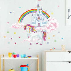 Cute Unicorn Castle Wall Sticker Home Decals Girls Bedroom Removable Decorations $8.64