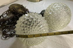 Vintage Hanging Double Swag Light Fixture Clear Cut Glass Globes Mid Century $45.99