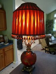 Vintage Mid Century Falkenstein Red Lamp And Shade $150.00
