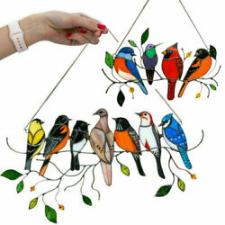 Stained Glass Bird Home House Window Panel Hanging Suncatcher Balcony Ornaments $9.87