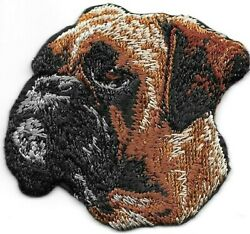 2quot; x 2 3 8quot; Boxer Dog Breed Portrait Looking Left Embroidered Iron Sew On Patch $2.99