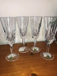 Waterford Crystal Lismore Champagne Flutes Set of 4 NEW IN BOX $105.00