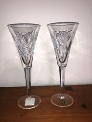 Waterford Crystal Lismore Millennium Champagne Flutes Set of 2 NEW IN BOX $99.00
