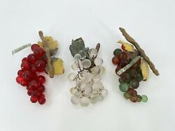 Vintage Glass Grape Clusters Red Clear Green Grapevines Faceted Lucite Retro 3 $34.99