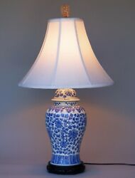 VINTAGE TABLE LAMP CHINESE BLUE WHITE FLORAL ON CARVED WOOD BASE $120.00