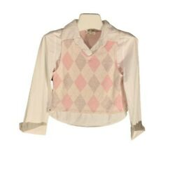 Amy Byer Girls Pink Top with Faux Vest Glitter Argyle Design Size Large 12 14 $7.50
