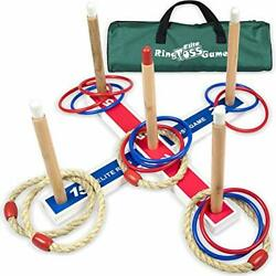 Kids Outdoor Games Ring Toss Yard Games w Compact Carry Bag Fun for Kids Adults $39.26