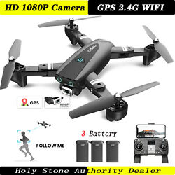Holy Stone S167 RC Drone with Camera 1080P GPS Foldable RC Quadcopter 3 Battery $85.99