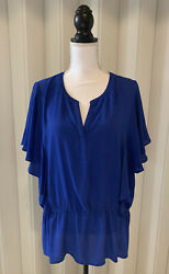 Chico's Ruffled Short Sleeve Blue top with elastic waistband Size 3 XL $14.50