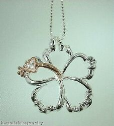 26mm Hawaiian Rose Gold Plated On 925 Silver Hibiscus Flower CZ Slide Pendant #3