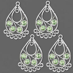 Swarovski Chandelier Peridot Green Crystal Antiqued Jewelry Lot of 4 Pieces $13.95