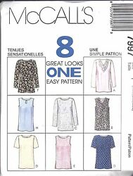 7997 UNCUT McCalls Vintage Sewing Pattern Pullover Tops Shirt 8 Looks OOP SEW FF