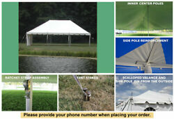 20x30 White Vinyl Classic Pole Tent for Wedding Outdoors Event Party