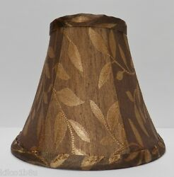 Bronze Brown w Gold Leaves Fabric Chandelier Lamp Shade Living room Traditional $11.99