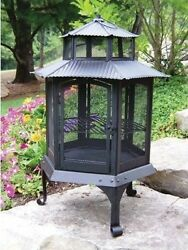 Wood Fire Place Pit & Grill - Pagoda Lantern Style - Cast Iron 23