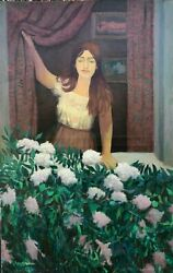 Young Woman & PeoniesFlowers Oil Painting-August Mosca