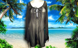 NWT PROFILE GOTTEX Black Sheer LONG SLEEVE BATHING SUIT COVER UP DRESS sz Small $24.99