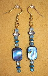 Handmade Artisan Crafted Earrings With Abalone Shell Topaz & Apatite Stone Beads