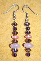 Handmade Artisan Crafted Earrings Faceted Glass Rose Quartz Amethyst Stone Beads