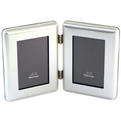 """Silver Plated 3.5"""" x 5"""" Janus I Hinged Double Picture Frame PT-590292"""