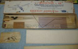 1946 Berkeley The Musketeer 42quot; Balsa Plane for Gas Powered .15 to .19 Engines $279.96
