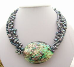 4 Strands Freshwater Black Pearl Paua Abalone Shell Necklace free shipping 18quot; $22.00