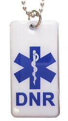 DTN-7 DNR Do Not Resuscitate Epoxy Fiilled Necklace  Keychain