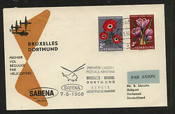 Luxembourg nice helicopter flight cover 1956 MS0125 $9.00