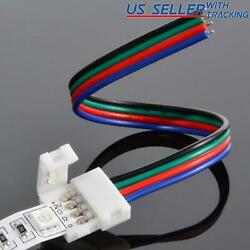 10-pack 10mm Solderless 4-Wire Connector Clip for 5050 RGB LED Strip Light Power $4.95