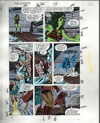1990 Avengers 325 page 22 Marvel Comics color guide art: Iron ManThorShe-Hulk