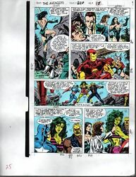 1990 Avengers Marvel color guide art page:Captain AmericaShe-HulkThorIron Man