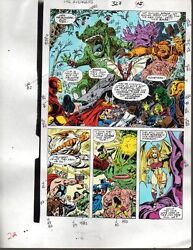 Avengers 327 Marvel color guide art page: ThorShe-HulkIron ManCaptain America