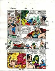 1989 Avengers 309 color guide art page: She-HulkCaptain AmericaThorSubmariner