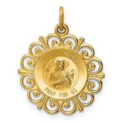 14k Yellow Gold Theresa Medal Charm Polished Pendant 25.6mmx25.3mm $258.36
