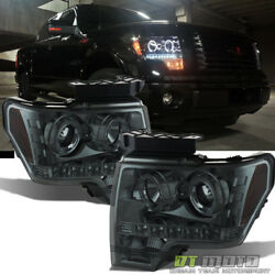 2009-14 Ford F-150 F150 DUAL LED Halo Smoked Projector Headlights Headlamps Pair $158.99