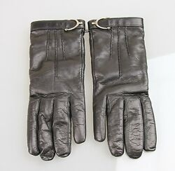 NEW Authentic GUCCI LeatherCashmere Gloves wSpur Detail 7.5 Black 296755