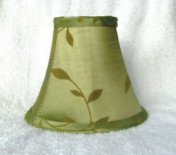 Sage w Felt Leaves Fabric Chandelier Lamp Shade Green Living Room Traditional $11.99