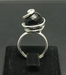 STYLISH EXTRAVAGANT STERLING SILVER RING SOLID 925 BLACK ONYX ADJUSTABLE SIZE