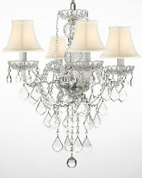 New! Authentic All Crystal Chandelier Chandeliers Lighting With White Shades