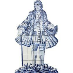 Portuguese Traditional Painted Azulejos Tile Mural INVITATION FIGURE ALABARDEIRO