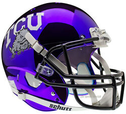 TCU HORNED FROGS CHROME SCHUTT XP NCAA FULL SIZE REPLICA FOOTBALL HELMET