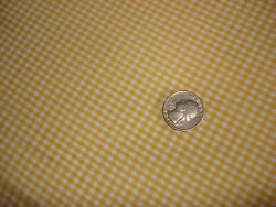 Vintage Arnel amp; Cotton Fabric SHADES OF GOLD amp; WHITE SMALL CHECK PLAID 1 Yd 44quot;W $9.99