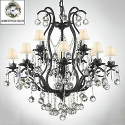 WROUGHT IRON CHANDELIERS LIGHTING DRESSED W CRYSTAL BALLS amp; WHITE SHADES $411.85