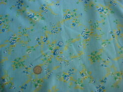 Vintage Polyester Blend Fabric SHADES OF BLUE GREEN amp; YELLOW FLORAL BLUE 2 Yds $12.00