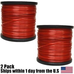 2PK 5lb .095 Square Red Commercial String Trimmer Line For Echo Stihl Redmax