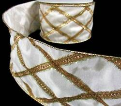 2 Yds Christmas Elegant Classy Ivory Gold Tinsel Luxury Wired Wide Ribbon 4quot;W $8.50