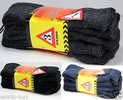New 12 Pairs Mens Heavy Duty Warm Work Boots Wool Socks Crew Thermal Size 9-13 $17.99